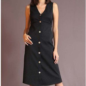 Sleeveless V neck Button Up Dress